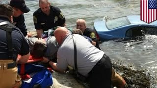 Car in water rescue: Good Samaritans help save 85-year-old driver at Connecticut beach - TomoNews