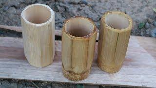 Cara Membuat Gelas Bambu.