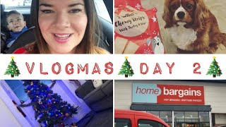 Vlogmas Day 2 | Food | Shopping | Home Bargains Haul | Rufus The Dog | Penguin Bedding!