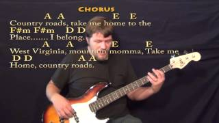 Country Roads - Bass Guitar Cover Lesson in A with Lyrics/Chords