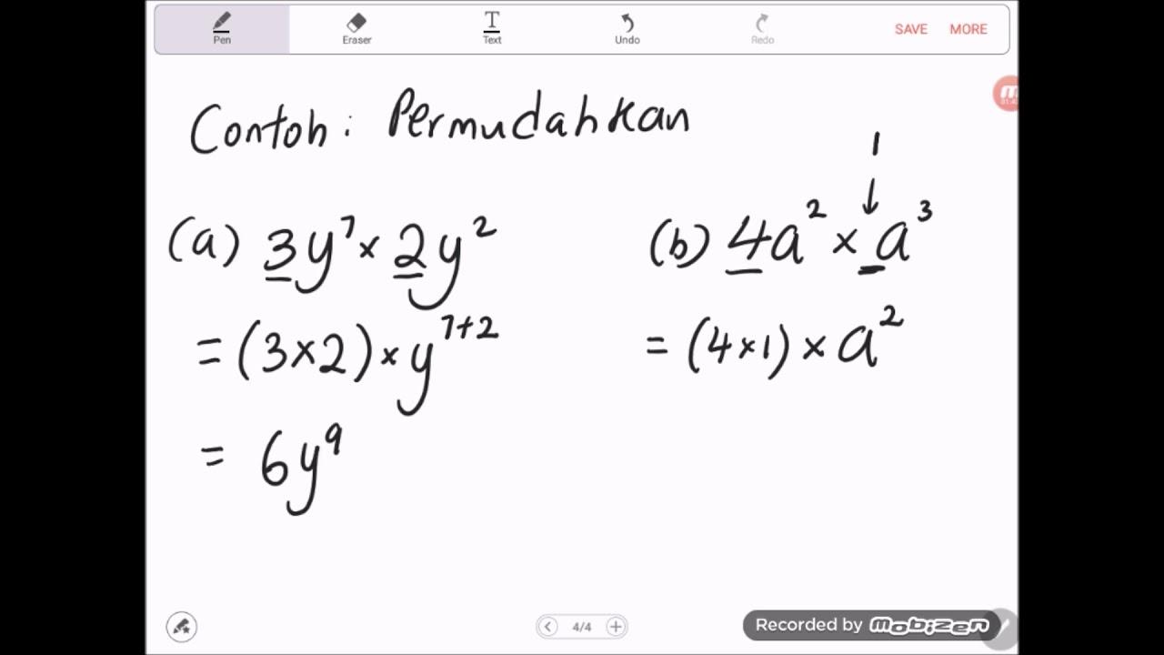 Bab 1 Matematik Tingkatan 3 2019 1 2a Hukum Indeks Pendaraban Youtube