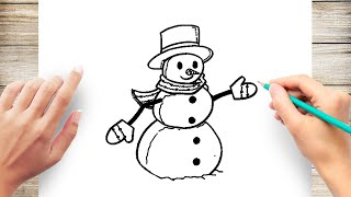 How to Draw Snow Man Step by Step