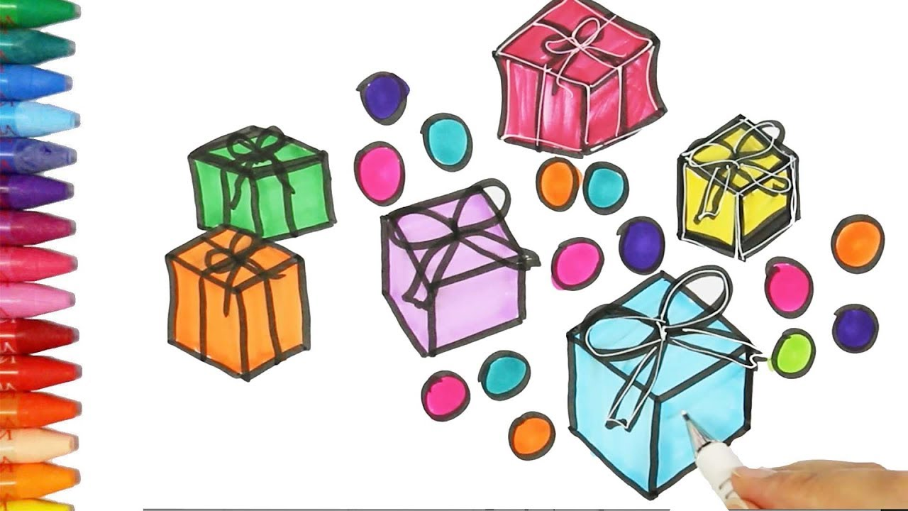 how to draw and color gift boxes drawing and coloring gift