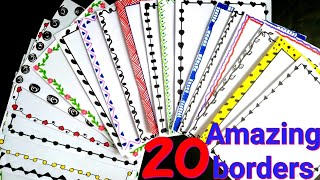 20 beautiful borders for projects handmade| simple border designs|borders on paper| project designs