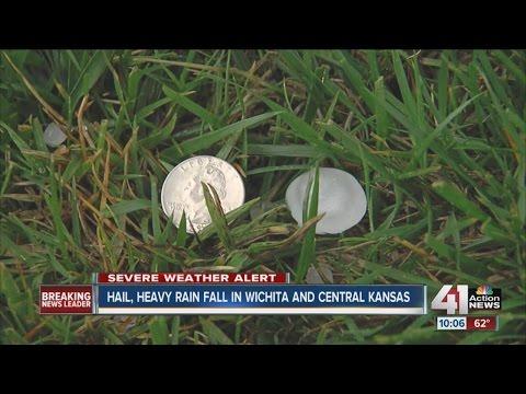 Hail, heavy rain fall in Wichita