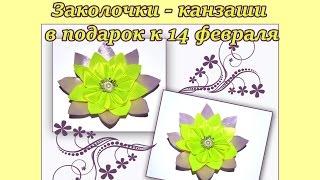 Заколочки - канзаши в подарок к 14 февраля: видео урок