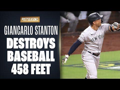 Yankees' Giancarlo Stanton hits MOONSHOT (458 feet) for 3-run home run in ALDS Game 2