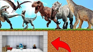 BUNKER SECRETO VS DINOSAURIOS en MINECRAFT 😱 BUNKER VS JURASSIC WORLD 2 en MINECRAFT ROLEPLAY