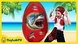 GIANT SHARK EGG SURPRISE OPENING with Shark Toys & Shark vs Pirate in Fun Kids Video ToyLabTV