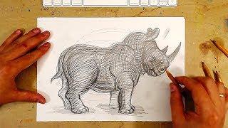 Урок рисования ПРОСТЫМ КАРАНДАШОМ / Как нарисовать НОСОРОГА для начинающих