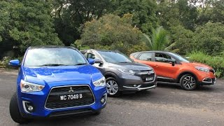 Mitsubishi ASX 4WD (Facelifted) Vs Honda HR-V Vs Renault Captur