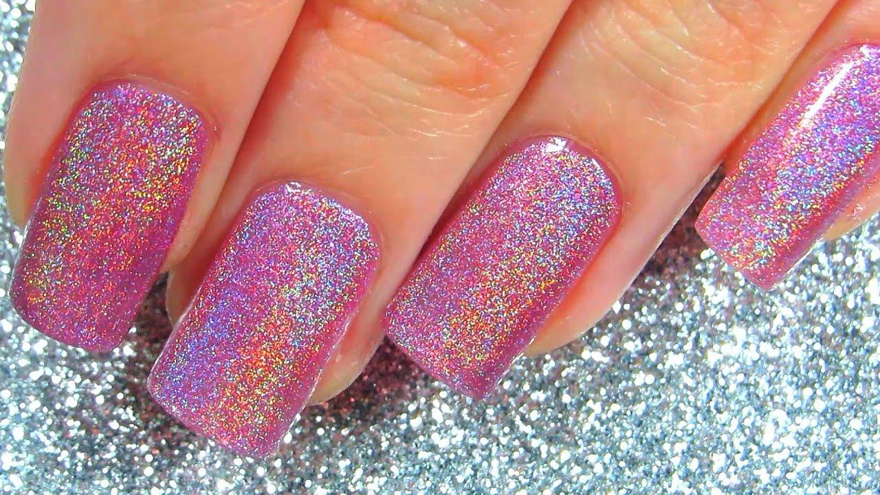 holo pink holographic nail polish