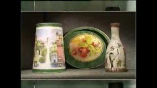 Декупаж. Декорируем абажур, поднос и бутылку используя рисовую бумагу. Мастер класс. Наташа Фохтина