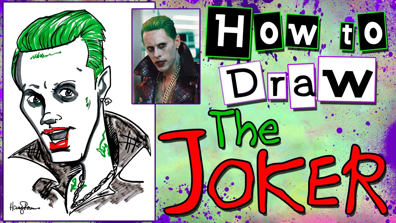 How To Draw A Quick Caricature Joker Jared Leto Suicide