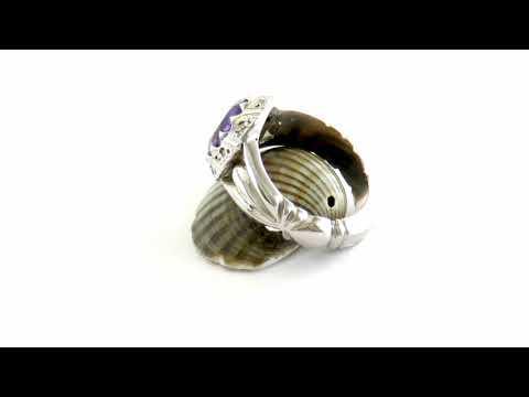 انگشتر آمتیست خوش رنگ دور برلیان اصل مردانه - کد 27113