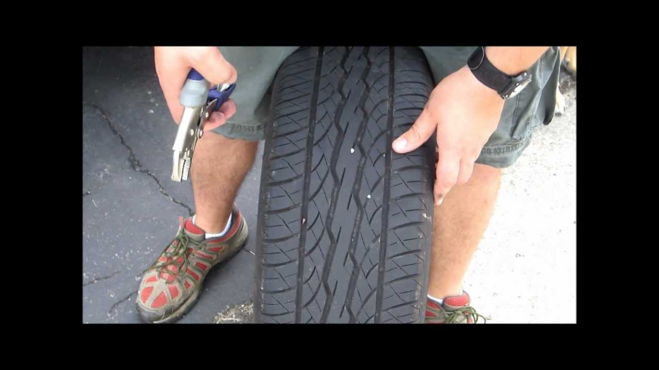 Nail In Tire Repair >> How to plug a tire ( Repair nail in tire ) - YouTube