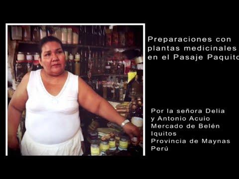 Preparaciones y plantas medicinales en el Pasaje Paquito por la señora Delia Iquitos, Peru.