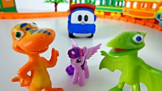 Игрушки из мультфильмов. Поезд динозавров. Хеллоу Китти. Грузовичок Лева. Rainbow Dash.