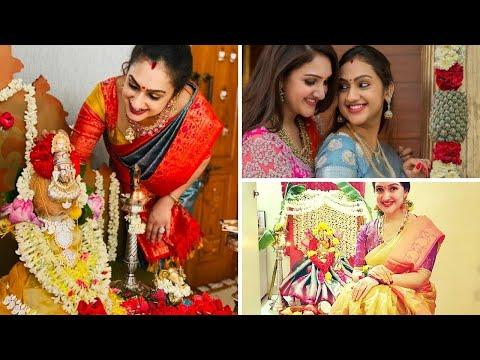 Pritha vijaykumar and Sridevi Vijaykumar sisters Varalakshmi Pooja Cellebration | Vanitha sisters