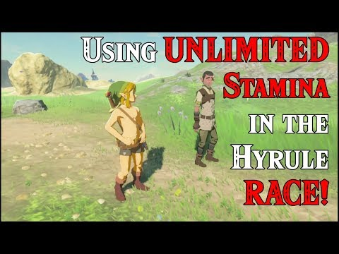 Using UNLIMITED Stamina in the Hyrule RACE! Of course it's within Zelda Breath of the Wild