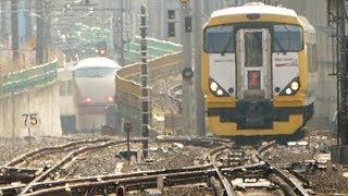 257系と奇跡の2ショット 東武鉄道  100系日光詣 スペーシア JR中央線に現る! 国立駅