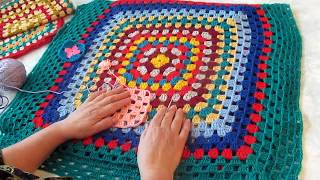 Вязание крючком, бабушкин квадрат.