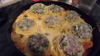 Макаронные гнезда с фаршем на сковороде-быстро, просто, вкусно !