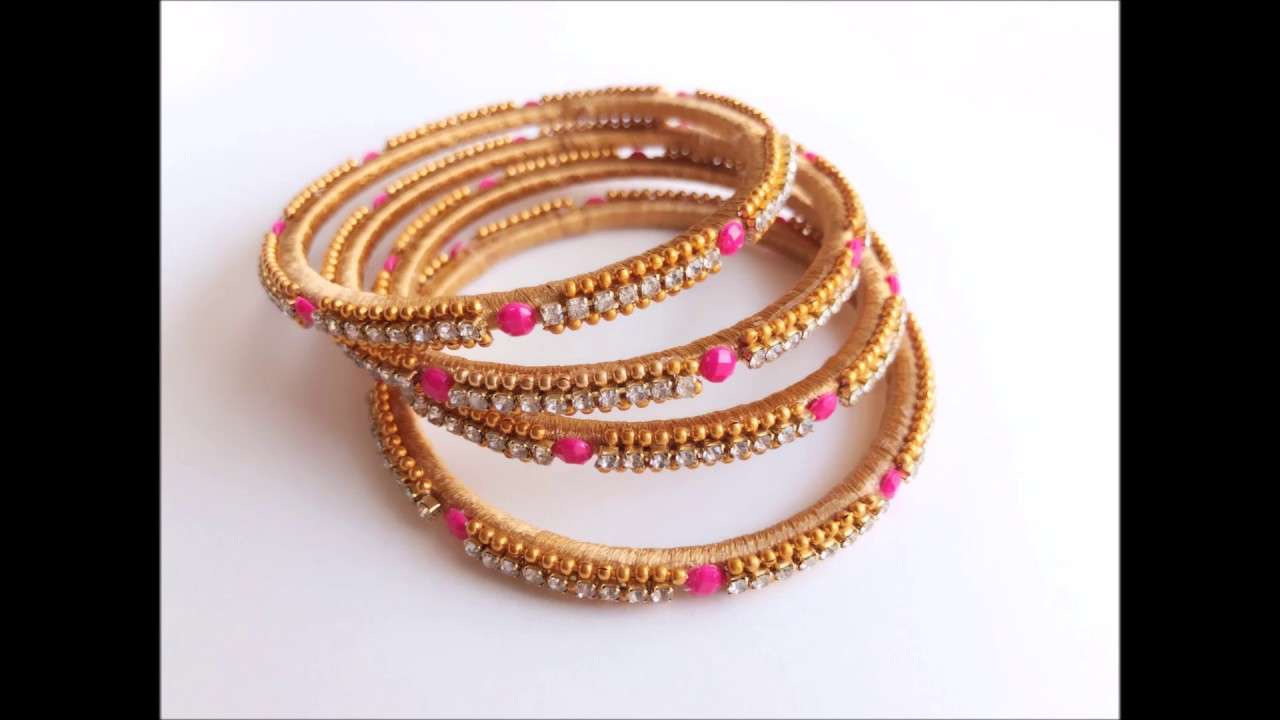 12d6bb62561 Turn Your Old Bangles Into latest Slik Thread Bangles/Slik Thread stone  Bangles  Trendy Thin bangles