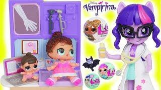 LOL Surprise Dolls Lil Sisters visit Barbie Doctor Playset