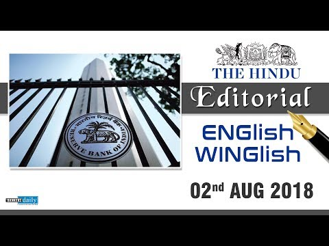 THE HINDU EDITORIAL : AUGUST 4, 2018 -