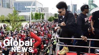 Danny Green rockin' the big new 'do at Toronto Raptors NBA Championship victory parade