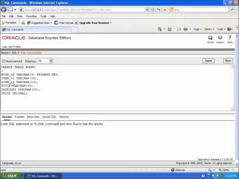 SQL with Oracle 10g XE - Using CREATE TABLE to Build a Table