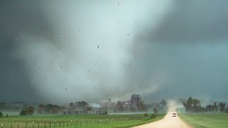 WILD TORNADOES!!! Close Intercept by Scientific Research Team 5-28-19 Tipton Kansas