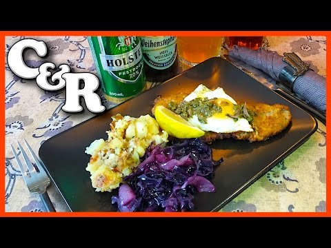 Wiener Schnitzel Holstein w/Beer Braised Red Cabbage & German Potatoes Recipe