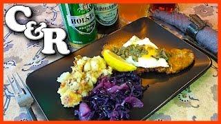 Wiener Schnitzel Holstein w/Beer Braised Red Cabbage & German Potatoes - Cook&Review
