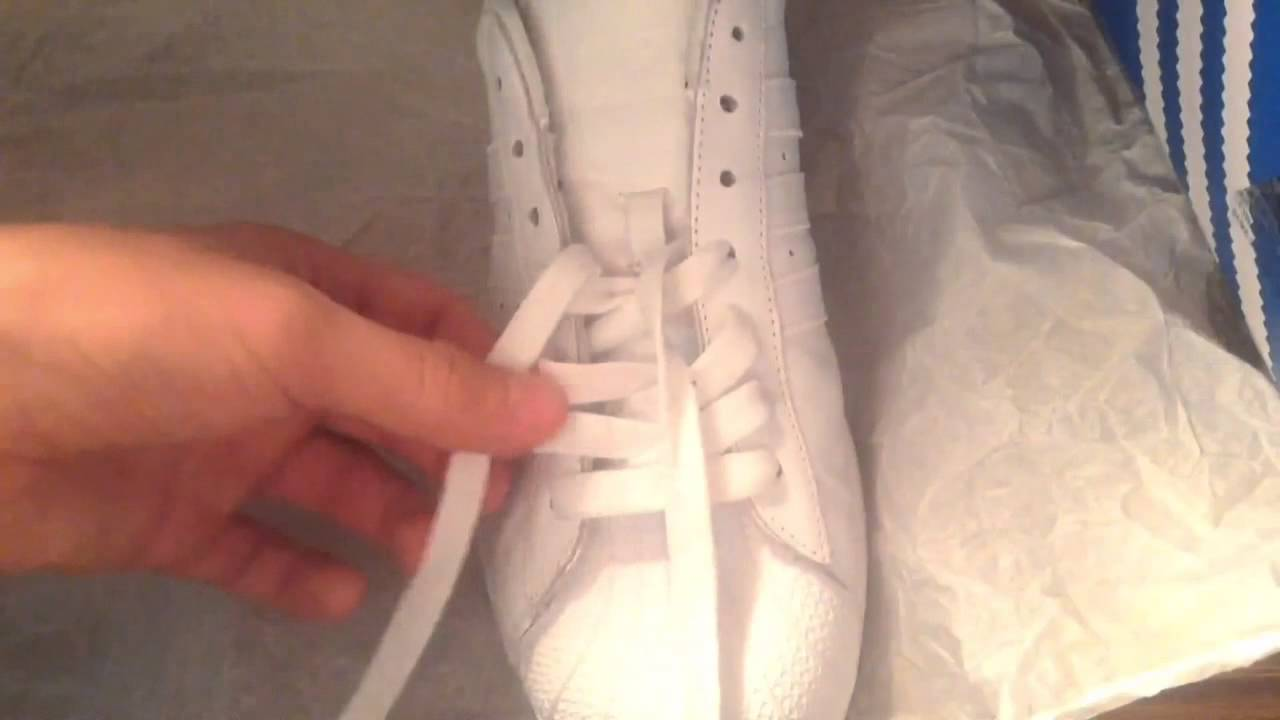01170c71536201 How to lace Adidas Shell Tops Shell Toes - YouTube