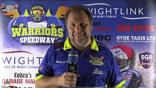 Barry Bishop Post Match Interview : 3TT R2 : Wightlink Warriors Shale Track Racing Club : 12/08/2021