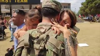 Mom Overcome with Emotion Seeing Military Husband Return Home from Deployment