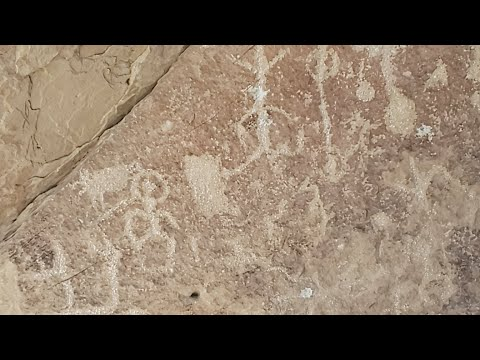 Petroglyph Panel On Side Of Road Colorado, Utah Border, Live