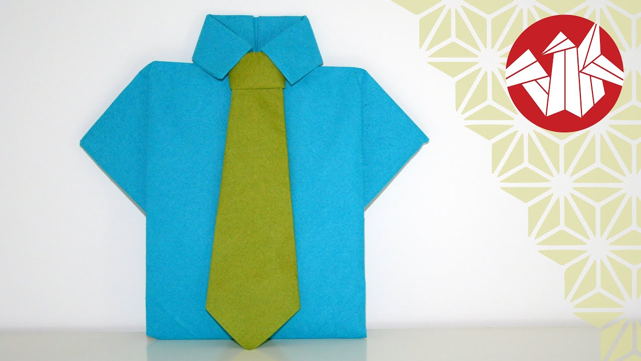 Tuto origami tutorial shirt and tie napkin senbazuru youtube - Pliage serviette chemise ...