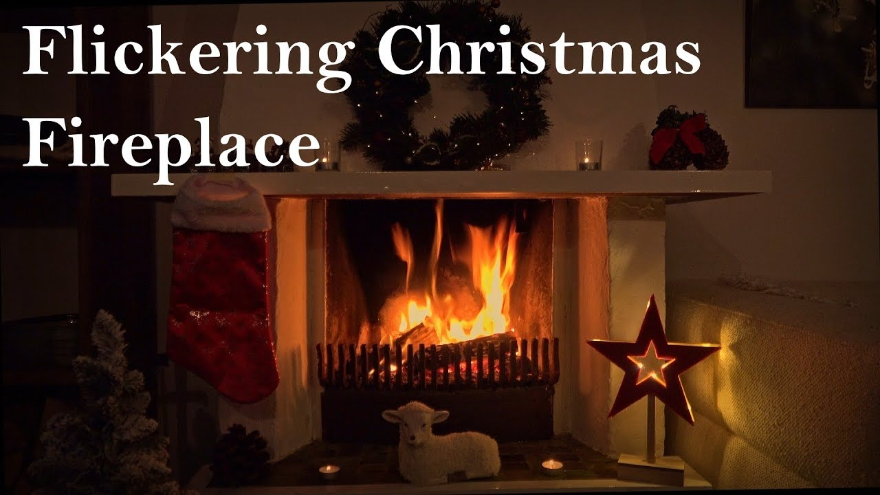 Christmas Fire Place.Flickering Christmas Fireplace With Relaxing Fire Sounds