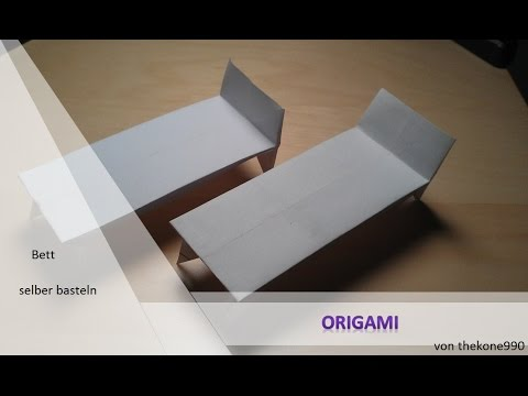 tutorial origami faltanleitung bett teil 1 youtube. Black Bedroom Furniture Sets. Home Design Ideas