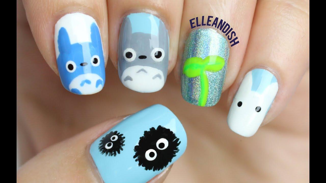 ツ How to: Totoro Nails ツ - YouTube