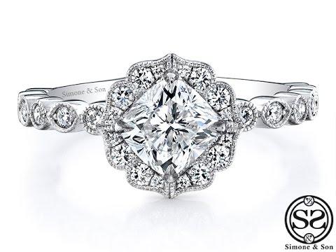 Custom Ornate Halo Engagement Ring