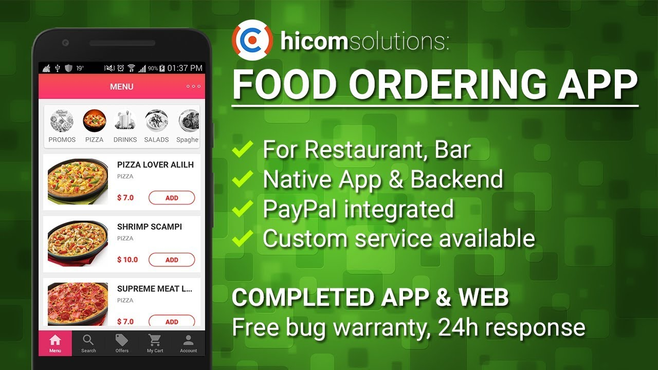 Food ordering android app template, script & source code for sale