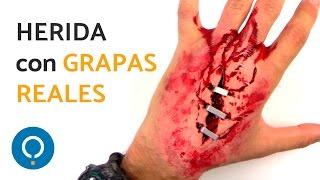 Heridas FALSA con látex - CORTE en la MANO con GRAPAS
