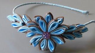 Tiara com flor de cetim e organza prateada Passo a Passo
