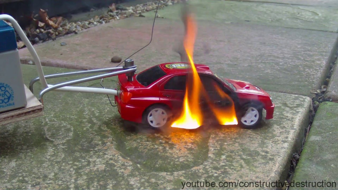 rc car battery test ends in flames car catches fire