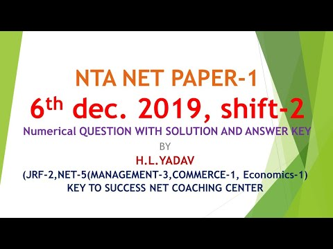 6th dec 2019 Shift-2 Net Paper 1 Questions With solution By Key to success