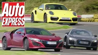 Honda NSX vs Porsche 911 Turbo vs Audi R8 V10 supercar track battle